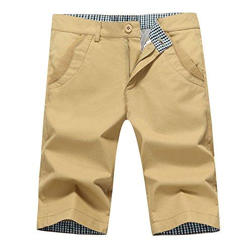 Plaid Shorts Khaki (Lovelelify Mens Flat Front Shorts Slim Fit Short Casual Classic Chino Shorts US 32/Asian 33 Khaki GWA21)