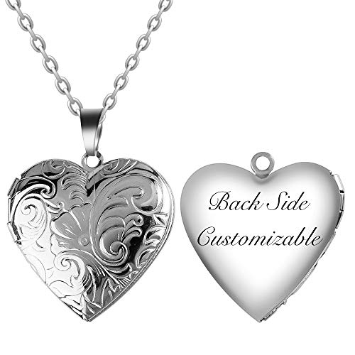 Fanery Sue Personalized Heart Locket Necklace That Holds Pictures Memory Photo Lockets Custom Any Photo Text&Symbols (Custom Text-Daisy Flower) (Personalized Best Friend Lockets)