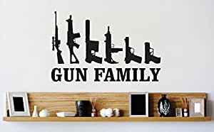 Vinyl Wall Decal Sticker : Gun Family Firearm Image Quote Bedroom Bathroom Living Room Picture Art Peel & Stick Mural Size: 20 Inches X 30 Inches - 22 Colors Available