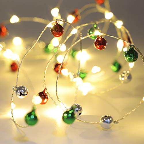 (Jingle Bell String Light - 10ft 60 LEDs 60 Jingle Bells Battery Operated Copper Wire Lights with Remote Control for Christmas Festival, Evening, Gift, Party, Indoor, Outdoor, Gardens, Bedroom)