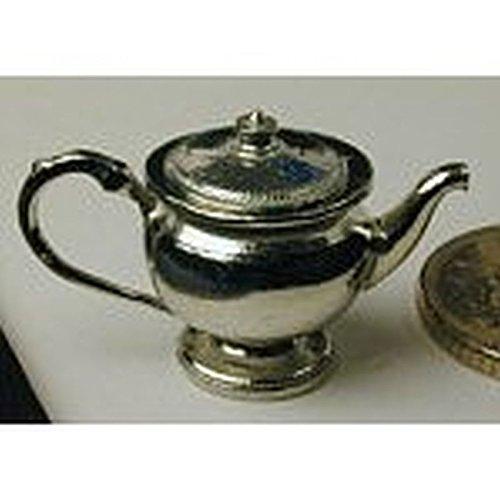 Dollhouse Miniature Polished Pewter Tea Pot w/Removable Lid