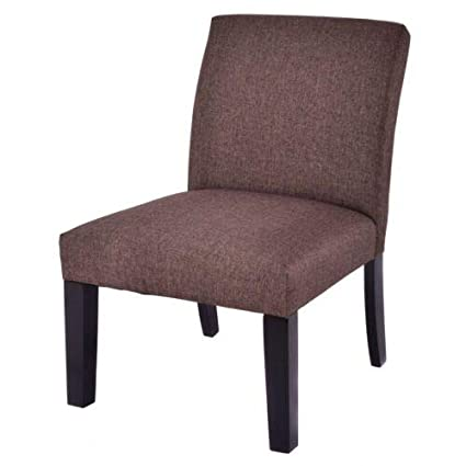 Amazon.com : Brown Slipper Chair Cushion Seat Linen Fabric ...