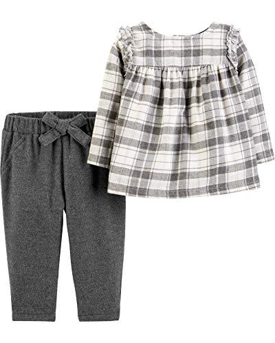 Carter's Baby Girls' 2-Piece Plaid Flannel Top & Pant Set, Newborn Gray