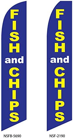 IM AMELIA Two Fish and Chips 15 Foot Swooper Feather Flag Sign A3NBZLR0GIH