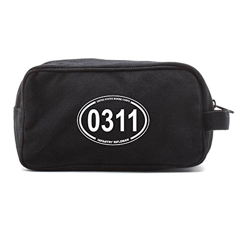 USMC Marine Corps MOS 0311 Infantry Rifleman Canvas Toiletry Bag in Black & White