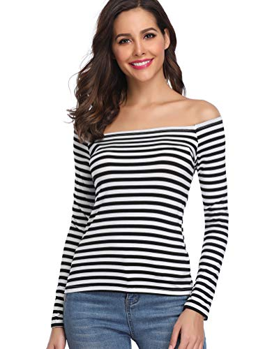 Fuinloth Women's Off Shoulder Shirts, Sexy One Shoulder Tops, Long Sleeves Tee Slim Fit Stripe X Small