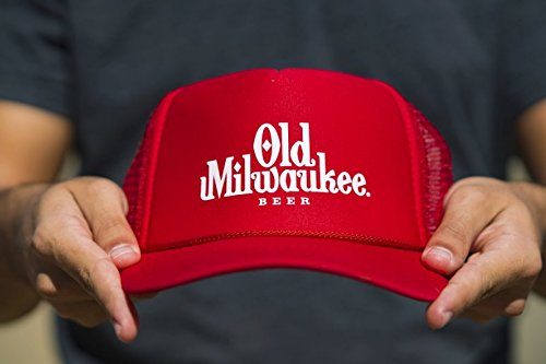 old-milwaukee-beer-red-trucker-hat