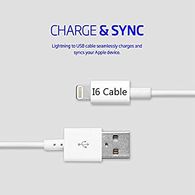 Lightning Cable,I6 Cable(TM) 6Ft/2m Extra Long Lightning To USB Cable iPhone 5 Cable iPhone 6 Cable 8-Pin Lightning Cable for iPhone 6 6Plus 6s 6sPlus 5 5s iPad Air iPad mini iPad 5 by I6 Cable