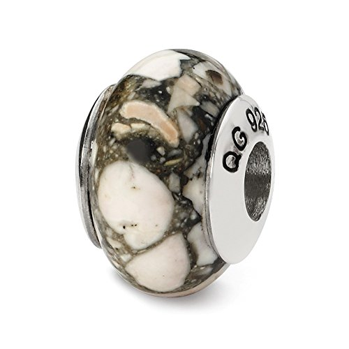 925 Sterling Silver Charm For Bracelet White Mosaic Magnesite Stone Bead From The Earth Fine Jewelry Gifts For Women For ()