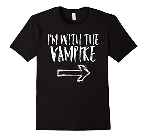 Mens I'm With The Vampire Halloween Last Minute Costume Shirt XL Black (Witty Halloween Costumes For Guys)