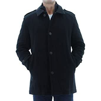 Andrew Marc New York Mens Lloyd Wool Coat Peacoat Black