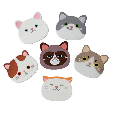 Cat Treat Set of 6 Silicone Rubber Coaster Mat for Wine Glass Tea Best Housewarming Beverage Drink Beer Home House Kitchen Decor Wedding Registry Gift Idea Dining Table Desk Cup Placemat