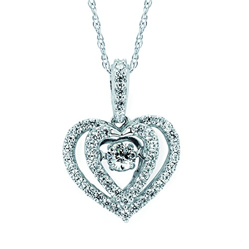 Brilliance in Motion 14K White Gold Dancing Diamond Double Heart Halo Pendant Necklace, 18