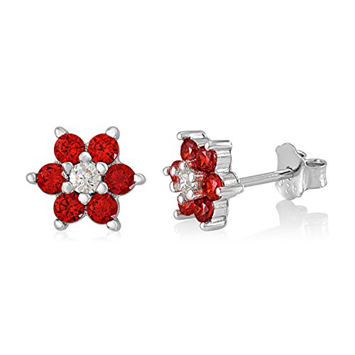 - UNICORNJ Childrens Sterling Silver 925 Red CZ 6 Petal Flower January Birth Month Stud Post Earrings Italy