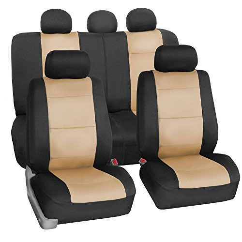 Jeep Liberty Seat Cover Covers (FH-FB0831115 Neoprene Waterproof Car Seat Covers, Full Set (Airbag Compatible & Split Bench), Beige / Black Color)
