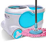 Rotating mop bucket deer skin automatically dehydrated drag free hand wash mop bucket mop home automatic water drag bucket barrel mop double drive stainless steel mop dry and wet separation,C