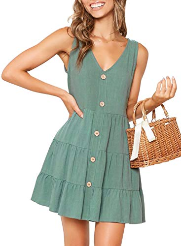 MITILLY Women's Summer Sleeveless V Neck Button Down Casual Pocket Swing Short Dress X-Large Light Green