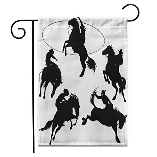 Adowyee 12″x 18″ Garden Flag Rodeo Cowboys on Horses Silhouettes Hat Bucking Lasso Saddle Outdoor Double Sided Decorative House Yard Flags