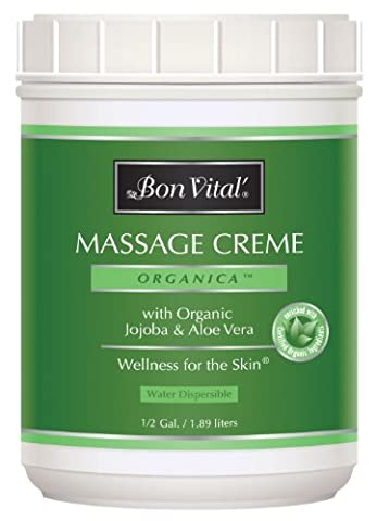 Bon Vital' Organica Massage Crème Made with Certified Organic Ingredients for an Earth-Friendly & Relaxing Massage, Organic Jojoba Oil Provides Easy Glide and Makes Soft Skin, 1/2 Gallon - Bon Vital Organica Lotion