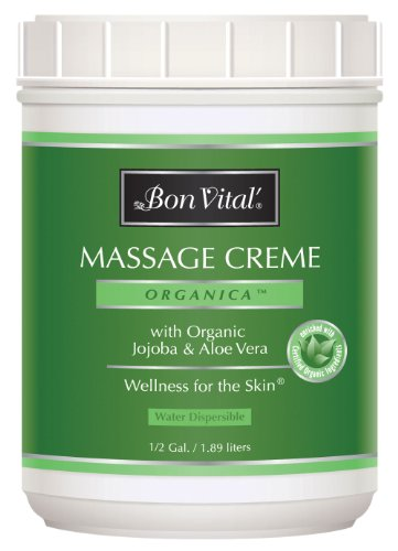 Bon Vital' Organica Massage Crème, Professional Massage Therapy Cream with Certified Organic Ingredients for an Earth-Friendly & Relaxing Massage, Organic Jojoba Oil for Easy Glide, 1/2 Gallon Jar -