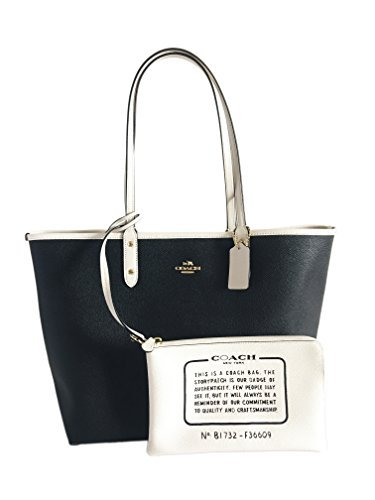 COACH Reversible City Tote in Coated Canvas (Black/White/Gold)