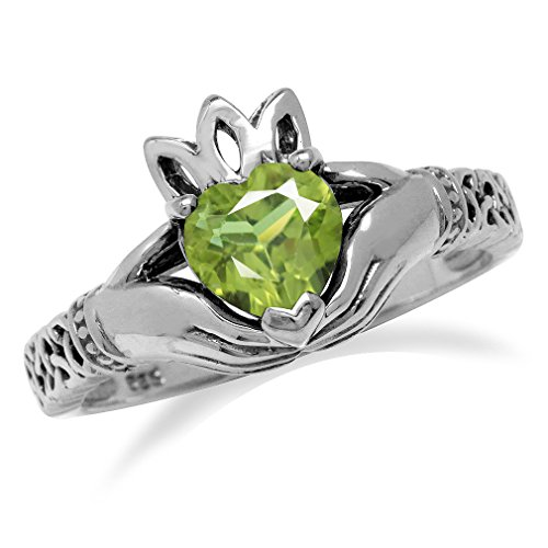 Natural Heart Shape Peridot Irish Claddagh & Triquetra Celtic Knot 925 Sterling Silver Ring Size 12