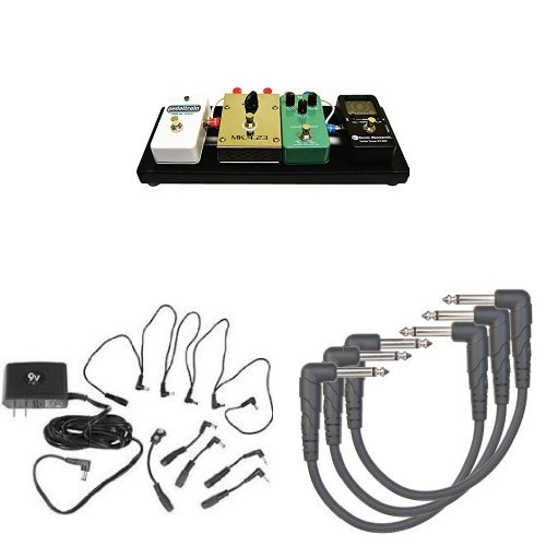 Pedaltrain PT-NANO-SC 14'' Pedalboard - with Soft Case, Power Supply Combo Pack, and 3-Pack of 0.5 Foot Right Angle Instrument Cables Bundle
