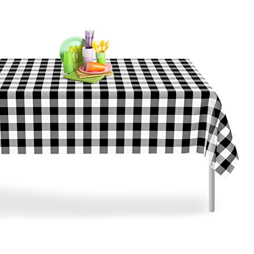 Black Checkered Gingham 12 Pack Premium Disposable Plastic Tablecloth 54 Inch. x 108 Inch. Rectangle Checkered Racing  Flag Table Cover By Grandipity -