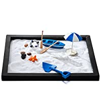 Zen Sand Beach Garden for Desk & Office Decor: Tabletop Relaxation Meditation Beach Kit - Wood Base, 2 Bags White Sand, Shovel, Boat with 2 Mini Paddles, Umbrella, Beach Chair, Lifebuoy & Small Rocks by Zen Factory