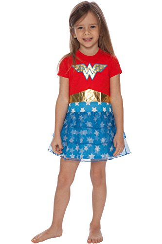 DC Comics Girls' Big Wonder Woman 'Costume Logo' Pajama Nightgown, Multi, 7/8