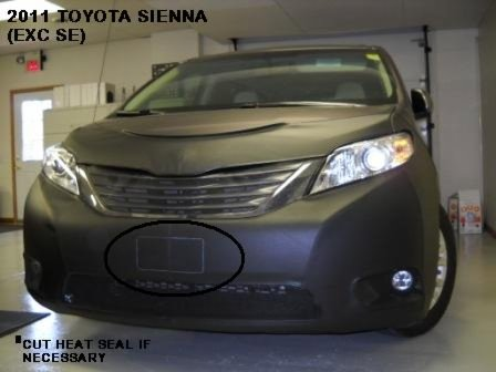 Lebra 2 Piece Front End Cover Black - Car Mask Bra - Fits - Toyota Sienna Except Se and Limited models 2011 2012 2013