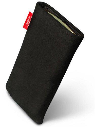 fitBAG Folk Schwarz Handytasche Tasche aus feinem Wildleder Echtleder mit Microfaserinnenfutter für APPLE iPhone 3Gs 32GB 32 GB