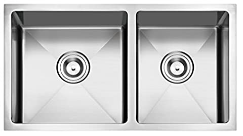 PRIMART Handcrafted Stainless Steel 33 inches Undermount Double Bowls 16 gauge Kitchen Sink in 60/40 double bowls