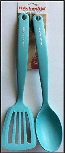 KitchenAid Nylon Slotted Turne U0026 Basting Spoon Set, Aqua Sky