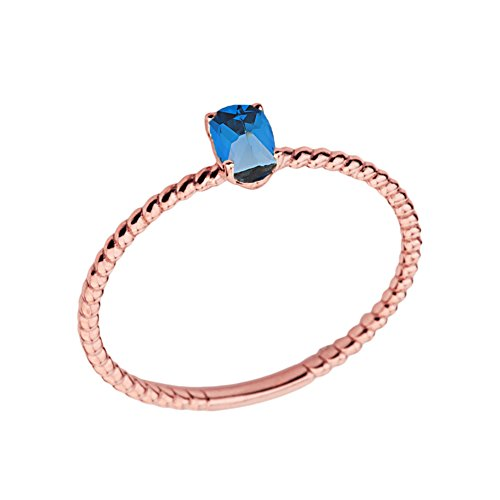 Blue Topaz Rope Ring - Dainty 14k Rose Gold Stackable Oval-Shaped Blue Topaz Rope Engagement/Promise Ring (Size 9.5)