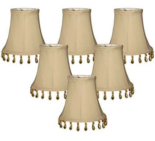(6 Pack) Royal Designs Beige Beaded Bell Chandelier Lampshade, 3 x 5 x 4 (CS-310B-5WH-6) (Mini Beaded Shade)