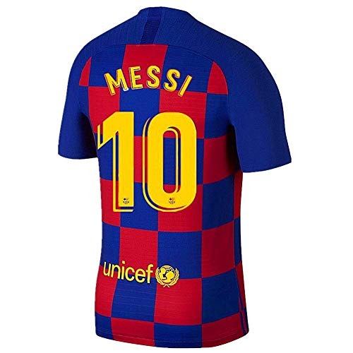 New Barcelona Home Mens 2019-2020 Season #10 Messi Soccer Jersey Color Red/Blue Size M (Messi Barcelona Shirt)