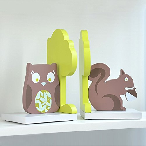 Brandream Cute Cartoon Kids Room Bookend Owl Squirrel Bookends