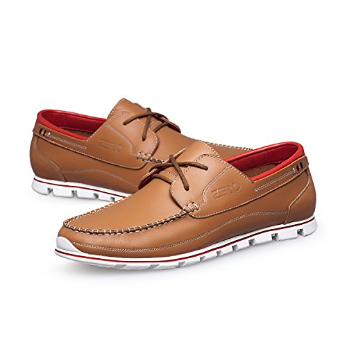 ZRO Men's Premium Genuine Leather Oxford Shoes Lace Up Casual LIGHT BROWN US 8.5 by ZRO (Image #6)