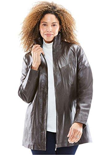 Zip Front Leather Coat - 7