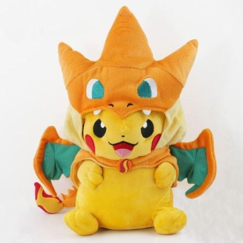 New Pikachu With Charizard hat Plush Soft Toy Stuffed Animal Doll 9'' (Pokemon Card Repeat Ball)