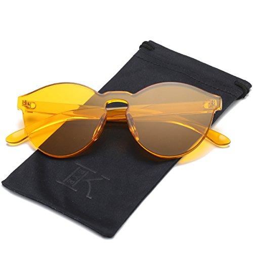 (LKEYE-Fashion Party Rimless Sunglasses Transparent Candy Color Eyewear LK1737 Orange Frame)