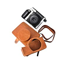 DSstyles Retro PU Leather Camera Case Bag for Fujifilm INSTAX WIDE 300 Instant Camera with Free Shoulder Strap - Brown