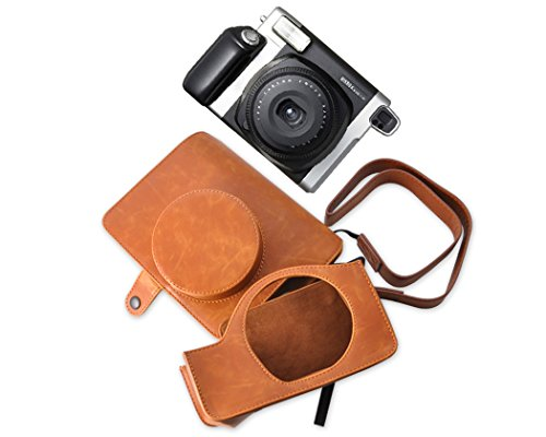 Ace Select Retro PU Leather Camera Case Bag for Fujifilm INSTAX WIDE 300 Instant Camera with Free Shoulder Strap - Brown