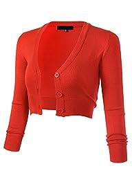 Arc Studio Women S Solid Button Down 3 4 Sleeve Cropped Bolero Cardigans L Fiesta Co129
