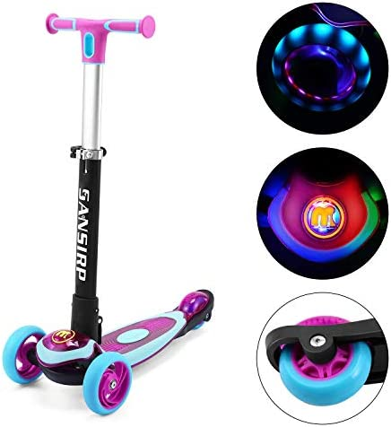 SANSIRP Kick Scooter for Kids,Aluminum Toddler 3 Wheel Scooter Adjustable Handle Polishing with LED Wheels Best for Little Boys Girls from 2 to 10 Year-Old