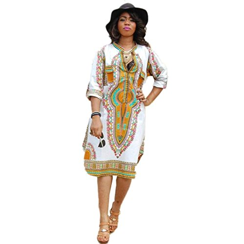 TOTOD Women White Dress New Women Summer Casual Deep V-Neck Traditional African Print Party Dresses ()