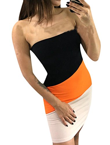 Orange Women Domple Shoulder Sexy Floral Party Ruffle Strapless Off Bodycon Dresses Mini HdqPr6q