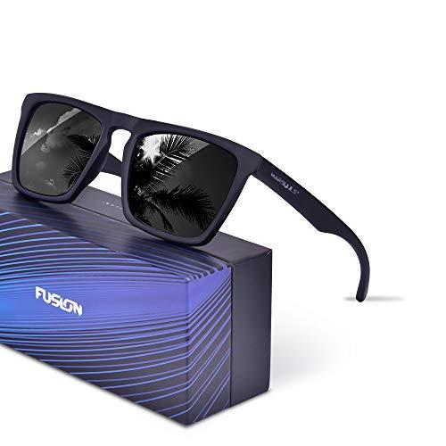 Polarized Sunglasses for Men Women, Anti-Slip Sport Sunglasses UV 400 Protection (Black Frame & Black - Protection Lens 400 Uv