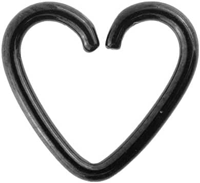 Blue Banana Surgical Steel 1.2mm Daith Heart Ring (Black)